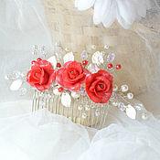 Свадебный салон handmade. Livemaster - original item Bridal comb with flowers/ garnet red wedding. Handmade.