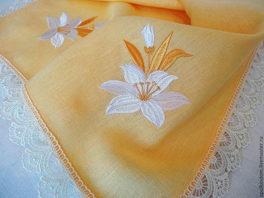 Пасхальная салфетка с вышивкой `Царская лилия` `Шпулькин дом` мастерская вышивки