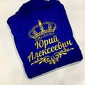 Мужская одежда handmade. Livemaster - original item Terry dressing gown for men named with embroidery. Handmade.