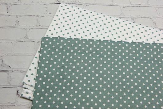 Шитье ручной работы. Ярмарка Мастеров - ручная работа. Купить Ткань хлопок Зеленый горошек 5 мм. Сатин. 100% хлопок. Handmade.