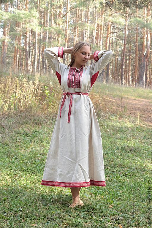 """Одежда ручной работы. Ярмарка Мастеров - ручная работа. Купить Платье """"Берегиня"""" небеленый лен. Handmade. Бежевый, народный костюм"""