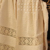 Для дома и интерьера handmade. Livemaster - original item Towel champagne linen lace-2. Handmade.