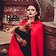 Верхняя одежда ручной работы. Красная тёплая накидка с капюшоном. Dudu-dress. Интернет-магазин Ярмарка Мастеров. Однотонный