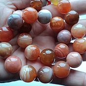 Материалы для творчества handmade. Livemaster - original item Agate peach smooth beads 14mm. Handmade.