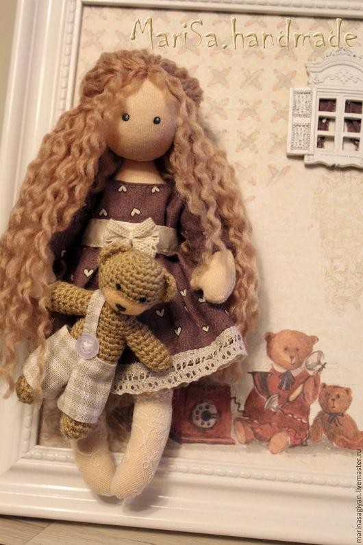 Детская ручной работы. Ярмарка Мастеров - ручная работа. Купить Панно Девочка и медвежата. Handmade. Бежевый, панно для интерьера, локоны