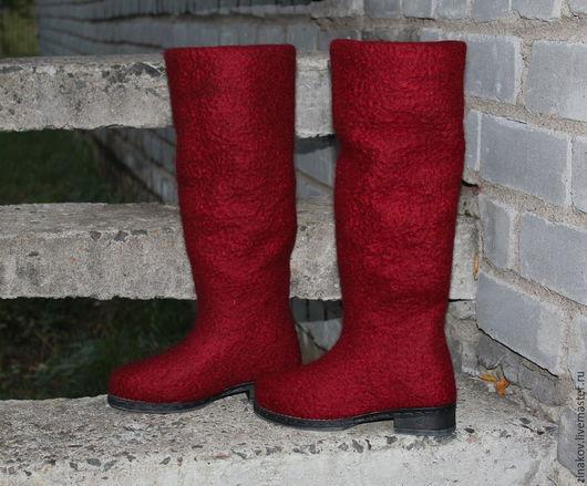 Обувь ручной работы. Ярмарка Мастеров - ручная работа. Купить Валяные сапоги  Марсала. Handmade. Марсала, сапоги женские