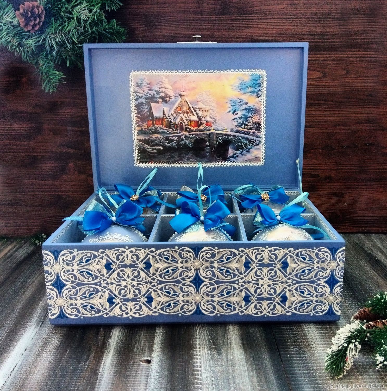 Set of Christmas balls with picture in the box Dot painting, Box, Novorossiysk,  Фото №1