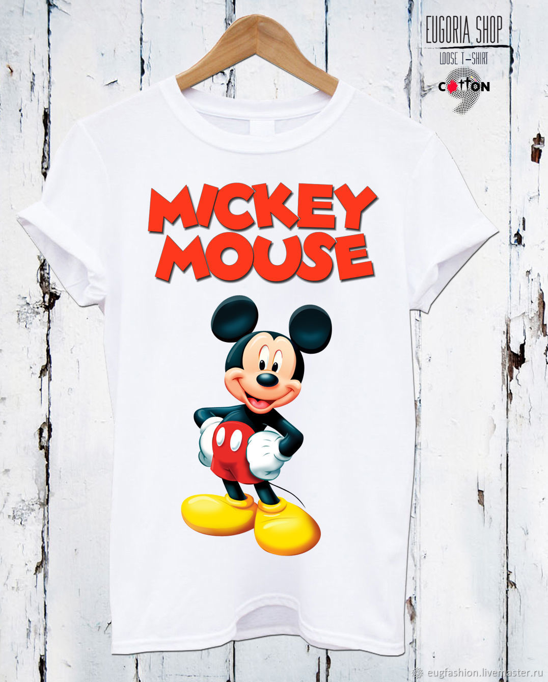 Cotton t-shirt with 'Mickey Mouse' print - TEE10056CT, T-shirts, Sofia,  Фото №1