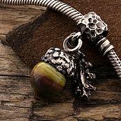 """Украшения ручной работы. Ярмарка Мастеров - ручная работа """"Желудь"""" серебряная бусина-подвеска для браслетов. Handmade."""