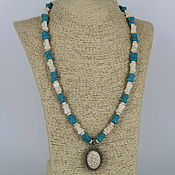 Украшения handmade. Livemaster - original item Necklace with pendant made of howlite