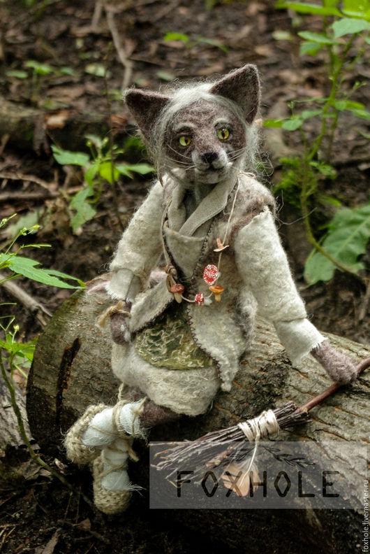 Коллекционные куклы ручной работы. Ярмарка Мастеров - ручная работа. Купить Кошка Яга коллекционная игрушка войлочная шарнирная. Handmade.
