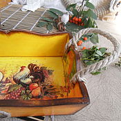 Для дома и интерьера ручной работы. Ярмарка Мастеров - ручная работа короб для кухни Петушки и дары осени. Handmade.