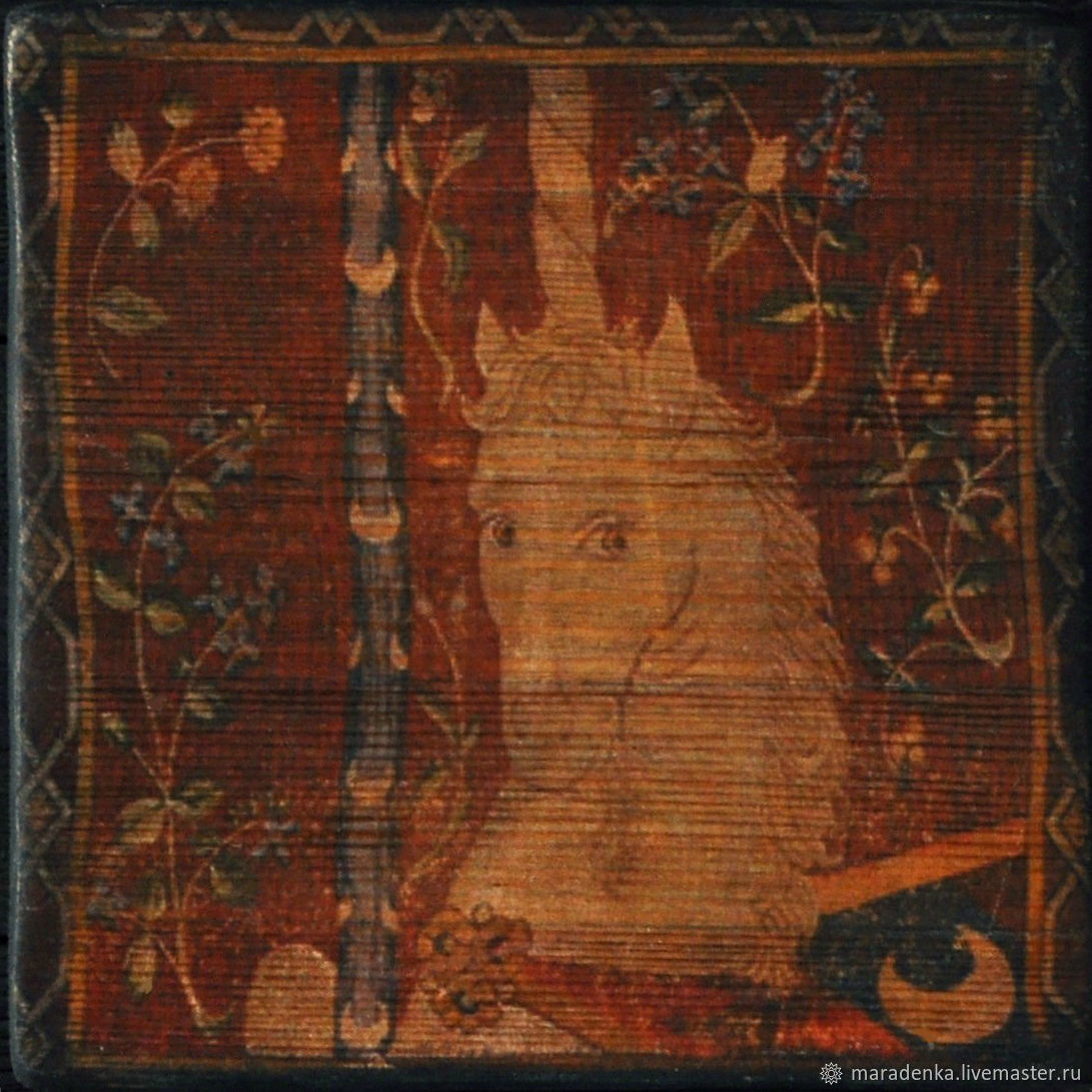 Unicorn. Panels on an aged Board.Wooden panel, Pictures, Moscow,  Фото №1
