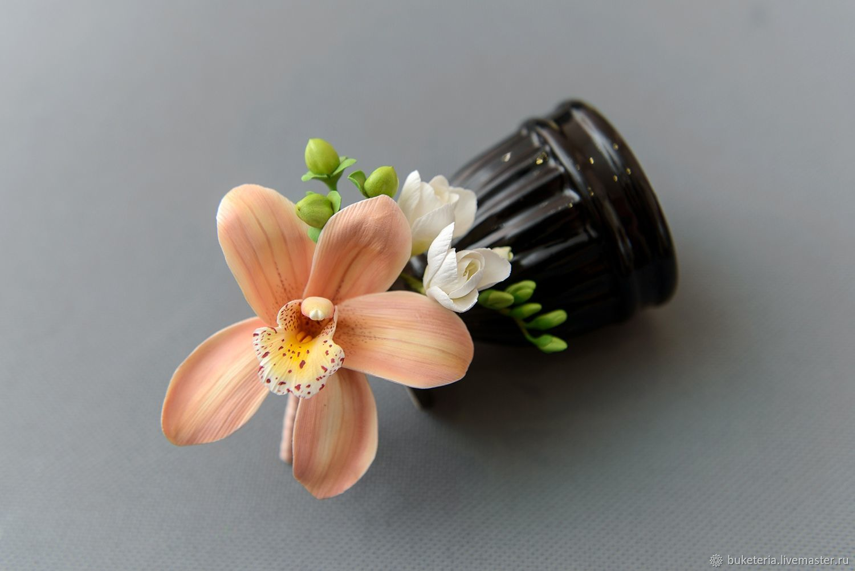 Бутоньерка для жениха с персиковой орхидеей из полимерной глины, Бутоньерки, Железнодорожный,  Фото №1
