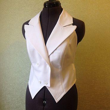 Одежда ручной работы. Ярмарка Мастеров - ручная работа Манишка-жилет XS S M L XL  , белый хлопок. Handmade.