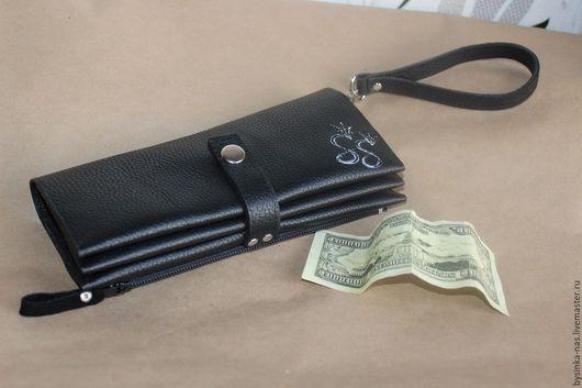 Мужские сумки ручной работы. Ярмарка Мастеров - ручная работа. Купить Мужской Кожаный кошелёк,холдер с блокнотом. Handmade. Черный