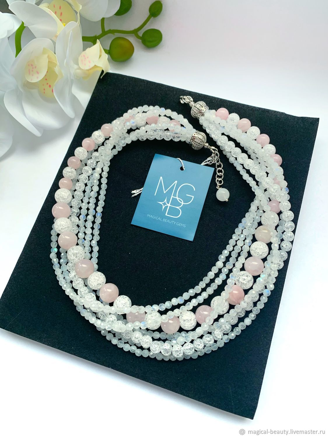 Necklace with adular, kunzite and krakle quartz, Necklace, Moscow,  Фото №1