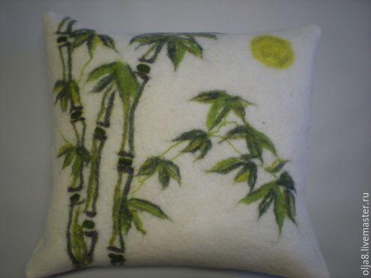 Текстиль, ковры ручной работы. Ярмарка Мастеров - ручная работа. Купить Подушка валяная Бамбук. Handmade. Разноцветный, войлок, Валяние