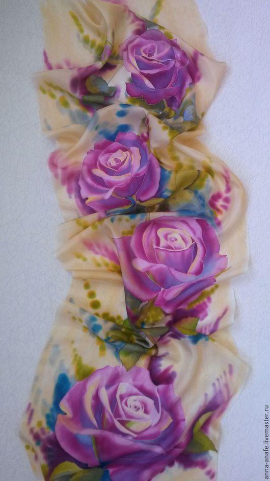 """Шарфы и шарфики ручной работы. Ярмарка Мастеров - ручная работа. Купить Шарф """"Розы"""". Handmade. Розовый, сиреневый, шелковый шарф"""