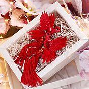 """Украшения ручной работы. Ярмарка Мастеров - ручная работа Серьги с птицами колибри """"lady in red"""". Handmade."""