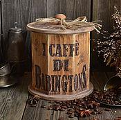 """Для дома и интерьера ручной работы. Ярмарка Мастеров - ручная работа """"Традиции Бабингтон"""" Короб для кофе /массив сосны/. Handmade."""