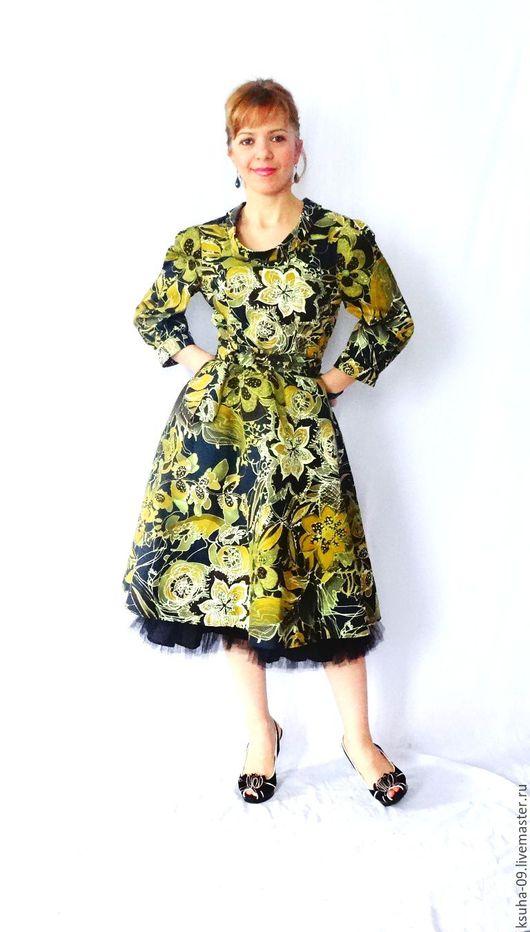 Платья ручной работы. Ярмарка Мастеров - ручная работа. Купить Платье из Итальянского хлопка. Handmade. Комбинированный, платье, путешествие, зеленое