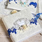 """Свадебный салон ручной работы. Ярмарка Мастеров - ручная работа Свадебный фотоальбом """"Blue dreams"""", подарок на свадьбу. Handmade."""