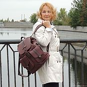 Сумки и аксессуары handmade. Livemaster - original item Leather backpack female cherry Burgundy Topaz Mod P35-182. Handmade.