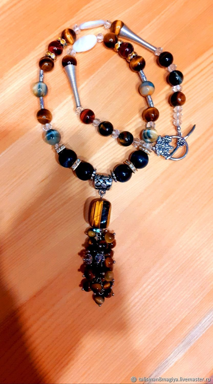Necklace and earrings made of tiger Falcon and bull's eye - amulet power, Jewelry Sets, Moscow,  Фото №1