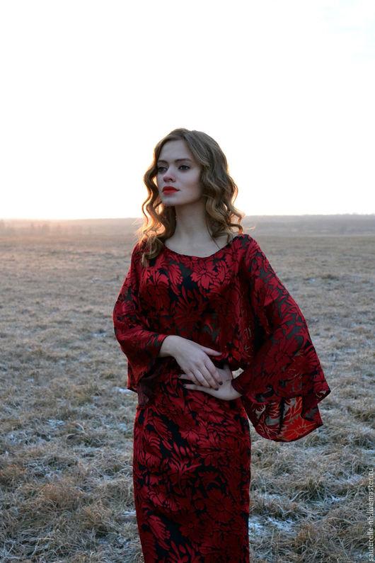 """Платья ручной работы. Ярмарка Мастеров - ручная работа. Купить Платье """"Амели"""". Handmade. Ярко-красный, платье коктейльное"""
