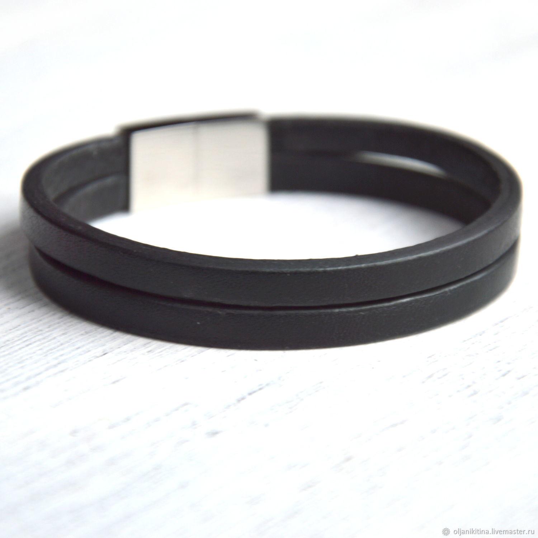 Черный кожаный браслет, Браслет-манжета, Санкт-Петербург,  Фото №1