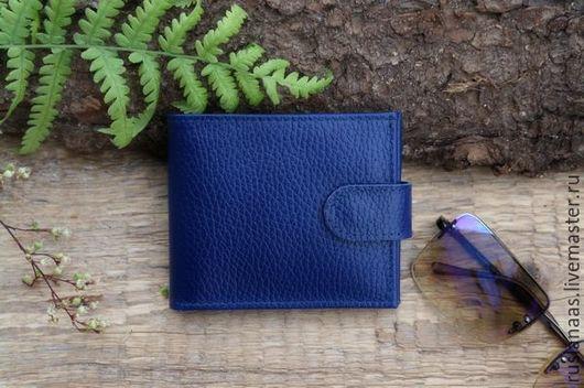 Кошельки и визитницы ручной работы. Ярмарка Мастеров - ручная работа. Купить Кошелёк небольшой женский на кнопке синий кошелек  натуральная кожа. Handmade.
