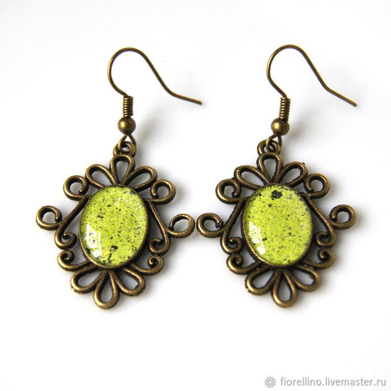 Earrings lime enamel light green, Earrings, Moscow,  Фото №1
