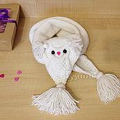 Работы для детей, ручной работы. Ярмарка Мастеров - ручная работа Шарф для девочки Совушка Сова вязаный спицами детский. Handmade.
