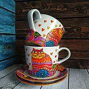 Чайные пары ручной работы. Ярмарка Мастеров - ручная работа Чайная пара Коты-близнецы ручная роспись 1шт. Handmade.
