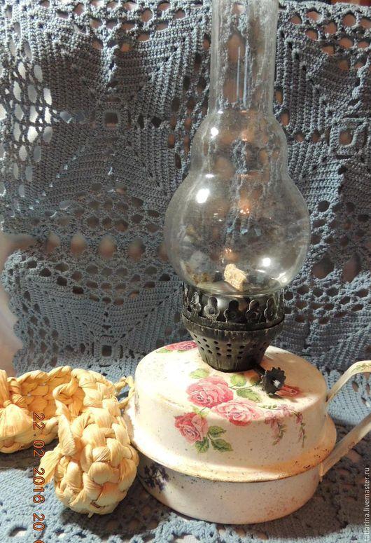 """Освещение ручной работы. Ярмарка Мастеров - ручная работа. Купить Лампа керосиновая  """"Цветы"""". Handmade. Декупаж, загородный дом"""