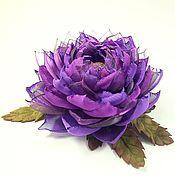 Украшения handmade. Livemaster - original item Lotus Purple Valley. Brooch - flower is made of fabric and genuine leather. Handmade.