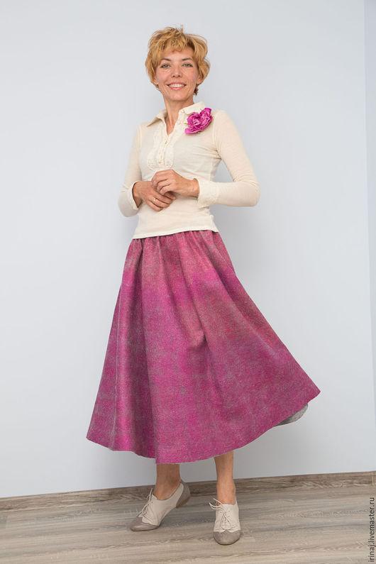 """Юбки ручной работы. Ярмарка Мастеров - ручная работа. Купить юбка валяная """"Малина"""". Handmade. Юбка, войлочная юбка, брусничный"""