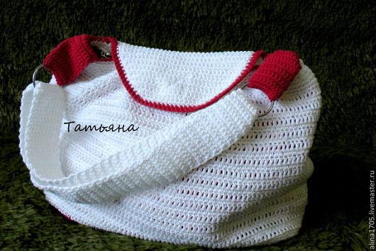 Женские сумки ручной работы. Ярмарка Мастеров - ручная работа. Купить Вязаная летняя сумка из хлопковой пряжи. Handmade. Белый