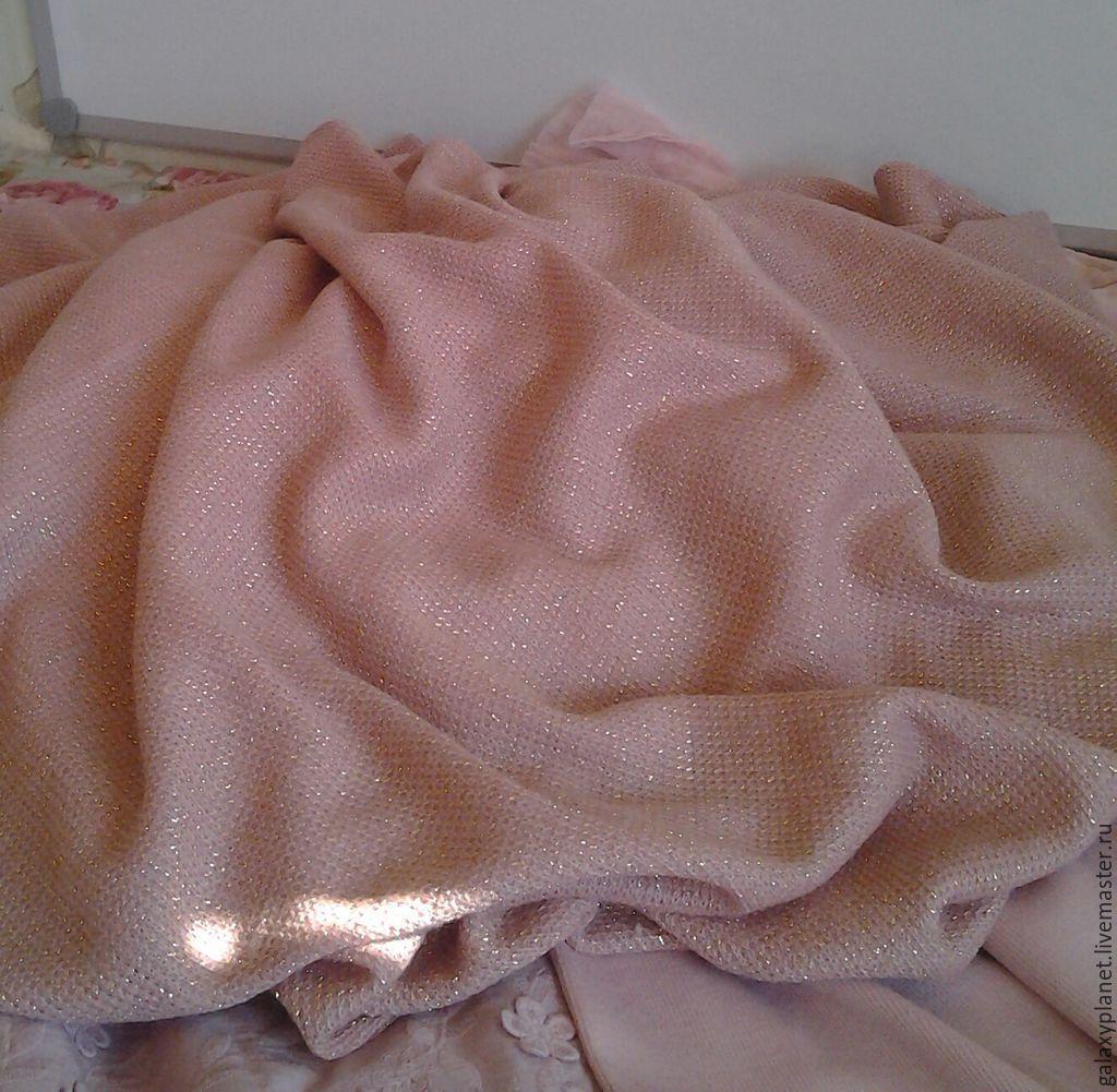 Вязаное полотно розовое с люрексом, Ткани, Солнечногорск,  Фото №1