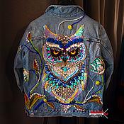 Одежда handmade. Livemaster - original item Denim jacket Fabulous owl. Handmade.