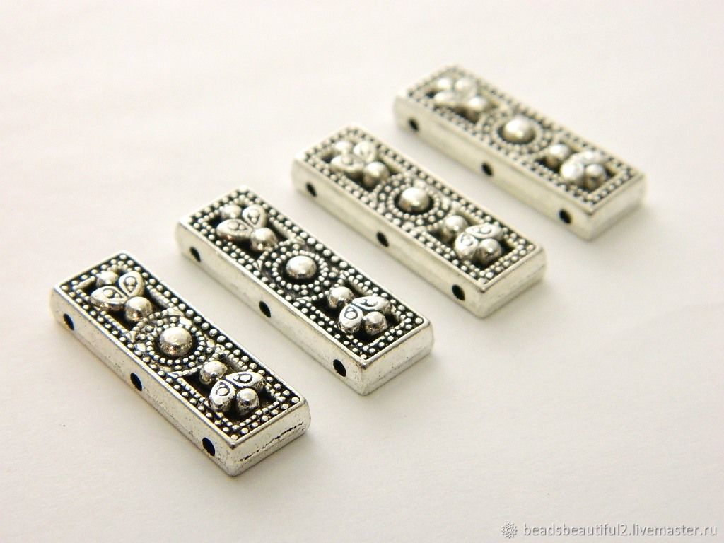 3-thread separator antique silver, PCs, Blanks for jewelry, Saratov,  Фото №1