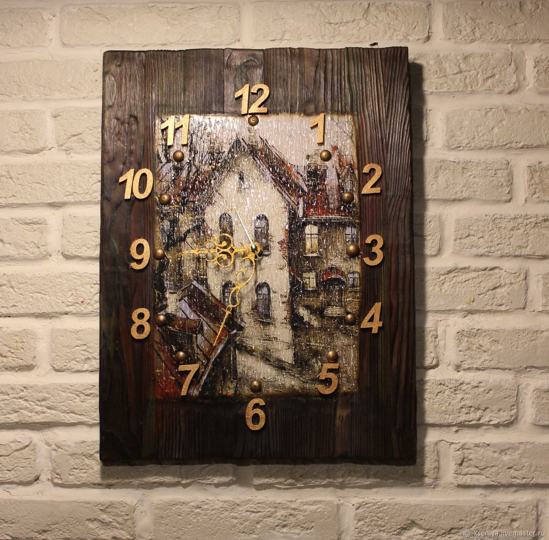 """Часы настенные """"Дождь в старом городе"""" Настенные часы, Часы, Москва,  Фото №1"""