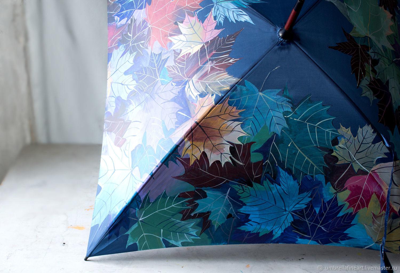 Umbrella with hand-painted square shape 'Autumn leaves', Umbrellas, St. Petersburg,  Фото №1