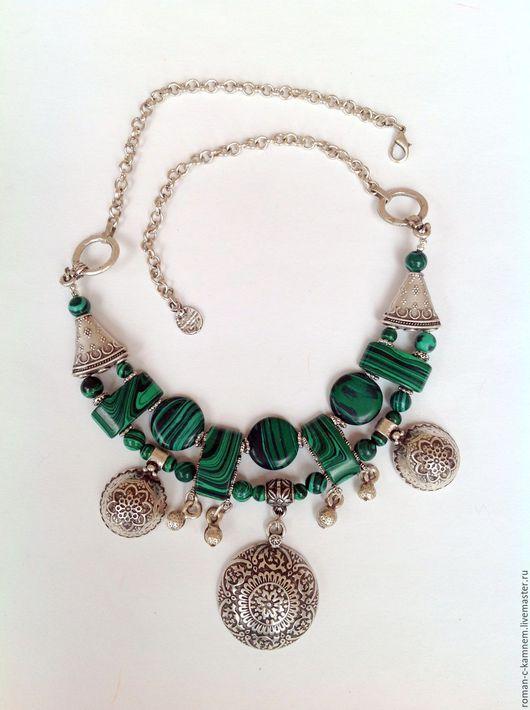 Колье, бусы этнические из малахита в восточном стиле Павлиний камень. Необычное авторское украшение. Оригинальный подарок для стильных , неординарных женщин и девушек.