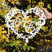 handmade. Livemaster - original item Monogram wooden heart-shaped (coat of arms of the family). Handmade.
