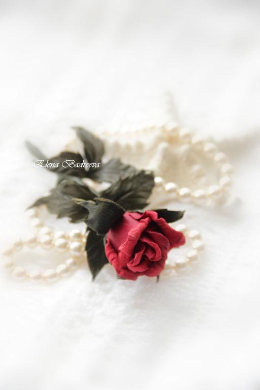 """Броши ручной работы. Ярмарка Мастеров - ручная работа. Купить Роза из натуральной кожи """" The magic of love"""". Handmade."""
