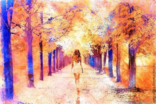 акварель Девушка `Осень`