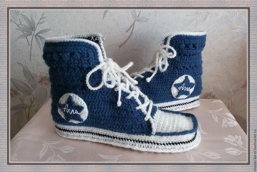 Носки, Чулки ручной работы. Ярмарка Мастеров - ручная работа. Купить Кеды носки вязаные теплые домашние синие Converse. Handmade.