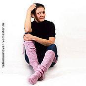 """Аксессуары handmade. Livemaster - original item Knitted long wool socks""""Jour"""". Handmade."""